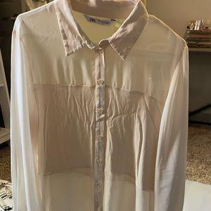 ZARA Cream Long Sleeve Button Up